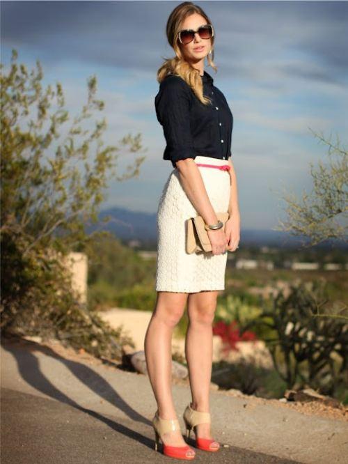 白タイトスカートのコーデがオシャレ!幅広く使えるアイテム!のサムネイル画像