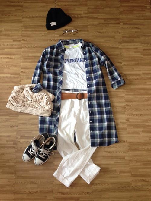 チェックロングシャツは羽織ってコーデするのがイマドキのおしゃれ♡のサムネイル画像